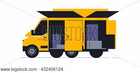 A Van For An Online Home Delivery Service. Transport For Delivery Of Orders. Van Rear View. Transpor