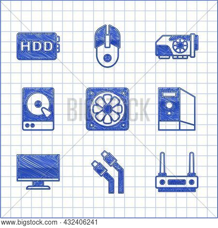 Set Computer Cooler, Lan Cable Network Internet, Router And Wi-fi Signal, Case Of Computer, Monitor