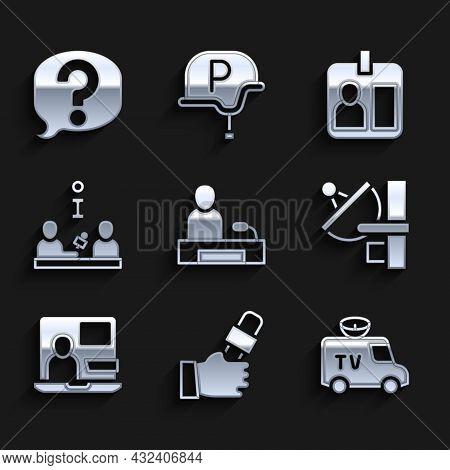 Set Television Report, Journalist News, Tv News Car, Radar, World, Interview, Id Card And Speech Bub