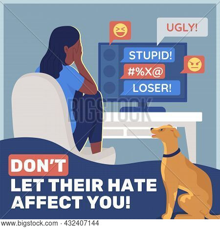 Anti Cyberbullying Social Media Post Mockup. Do Not Let Their Hate Affect You Phrase. Web Banner Des