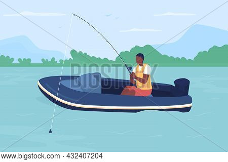 Fisherman In Boat Flat Color Vector Illustration. Man On Ship In Freshwater. Luring Fish In Lake. Re