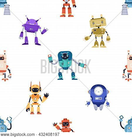 Seamless Childish Pattern With Cute Robot Toys On White Background. Endless Repeating Texture With F