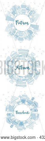 Outline Athens, Thessaloniki and Patras Greece City Skyline Set with Blue Buildings and Copy Space. Travel and Tourism Concept with Historic and Modern Architecture.