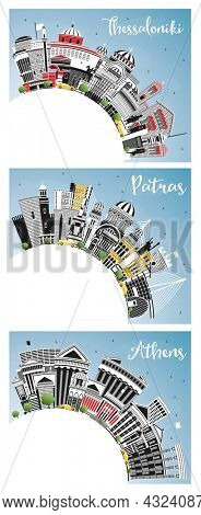 Athens, Patras and Thessaloniki Greece City Skyline Set with Color Buildings, Blue Sky and Copy Space. Travel and Tourism Concept with Historic and Modern Architecture.