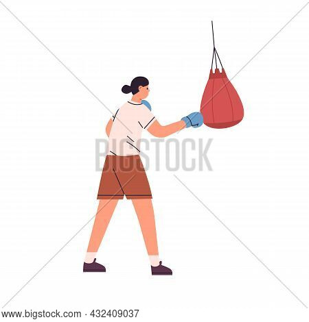 Woman Athlete Punching Boxing Bag. Female Boxer Training, Hitting And Beating Punchball With Fist In