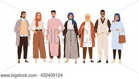 Arab People In Modern Outfits. Group Portrait Of Muslim Arabian Man And Woman In Stylish Clothes And