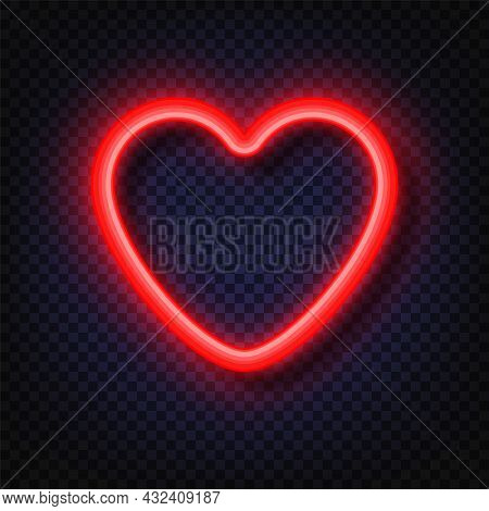 Neon Red Heart Sign. Neon Light Banners. Realistic Glowing Red Neon Heart Round Frames Isolated On T