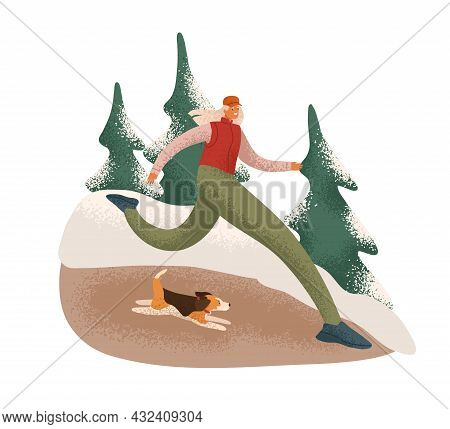 Woman Runner Jogging With Dog In Winter Forest. Jogger Running Outdoors In Cold Weather With Snow. P