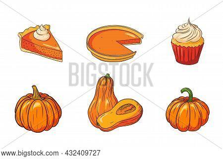 Thanksgiving Food Collection. Autumn Holiday Pumpkin Dishes Set. Fresh Ripe Pumpkins And Pumpkin Pie