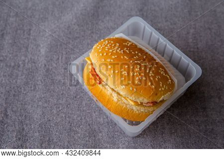Modern Food, Delivery From Restaurant For Client And Lunch At Work Or Home. Delightful Hamburger Wit