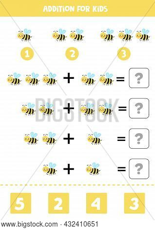 Addition With Cute Yellow Bee. Educational Math Game For Kids.