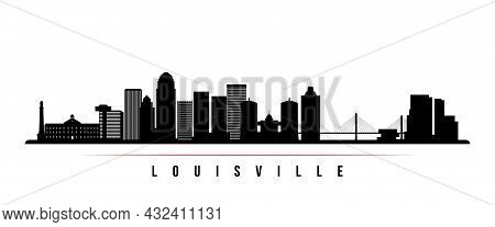 Louisville Skyline Horizontal Banner. Black And White Silhouette Of Louisville, Kentucky. Vector Tem
