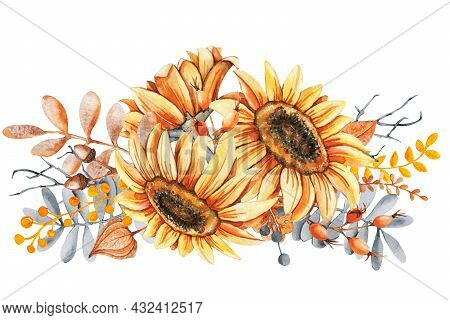 Sunflower Flowers And Fall Leaves Bouquet. Thanksgiving And Halloween Design Template. Hello Autumn