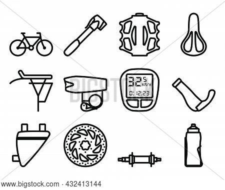 Bike Icon Set. Bold Outline Design With Editable Stroke Width. Vector Illustration.