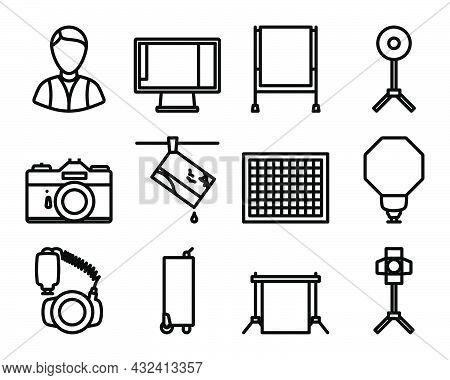 Photography Icon Set. Bold Outline Design With Editable Stroke Width. Vector Illustration.