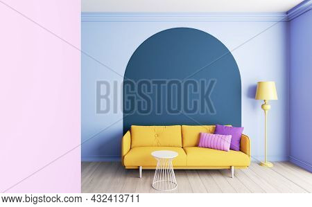 Colorful Interior With Arches. Interior Layout With Furniture. 3d Visualization Of The Interior In R