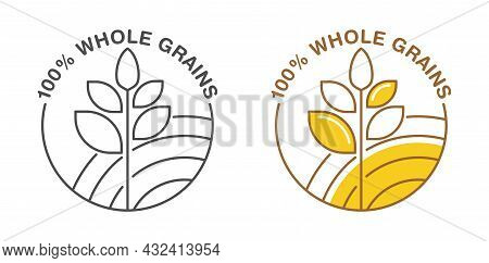 100 Percents Whole Grain Sicker For Cereals, Healthy And Dietary Food Labeling. Yellow Circle With V