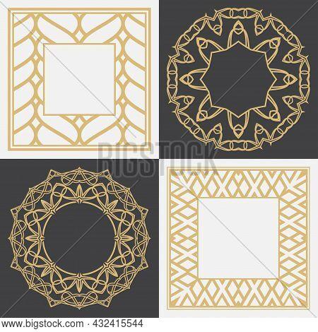Set Of A Decorative Circular Ornament. Geometric Round And Rectangular Stylish Frames. Art Ornament