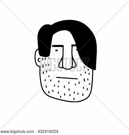 Doodle Bearded Face. Hand-drawn Outline Human Isolated On White Background. Funny Poker Face Avatar.