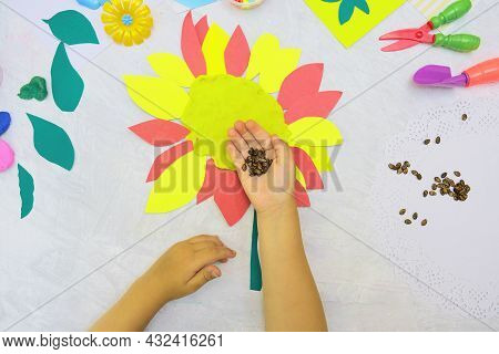 Diy Home Made Sunflower From Paper, Plasticine With Natural Watermelon Seeds. Reuse That What You Ha