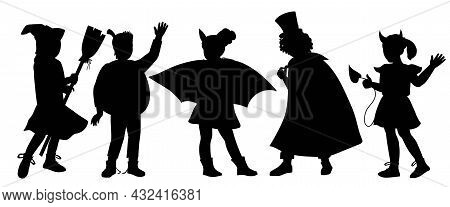 Black Silhouettes Of Children Dressed In Halloween Fancy Costumes To Go Trick Or Treating And Celebr