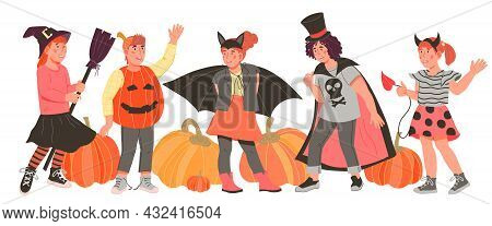 Children Dressed In Halloween Fancy Costumes To Go Trick Or Treating And Celebrate Halloween Party S