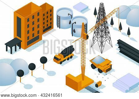Construction Site Building Creation, Heavy Machinery Oil Electric Power Station 3d Isometric Vector