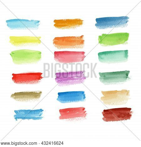 Colorful Watercolor Background. Real Watercolor. Brush Paint Stroke Striped. Hand Drawn Elements For