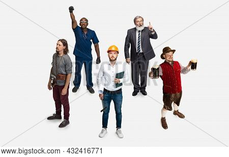 High Angle View Of Age-diverse Men, Professor, Farmer, Delivery Man, Cameraman, Smith, Waiter And Ar