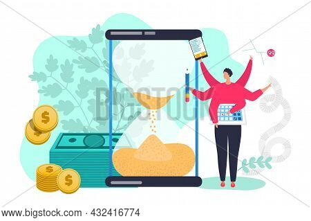 Businessman Tiny Character Multitask Skill Time Management, Business Office Clerk Hourglass Flat Vec