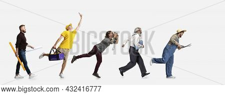 Collage Of Running Men, Professor, Farmer, Delivery Man, Cameraman And Architector Isolated On White