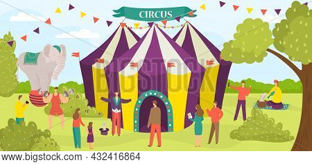 Entertainment Circus Tent Performance, Carnival Performer Group Of People Character Flat Vector Illu