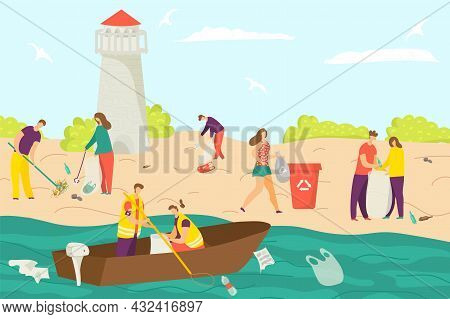 Modern Young People Character Cleaning Shore Beach Environmental Protection, Volunteer Together Clea
