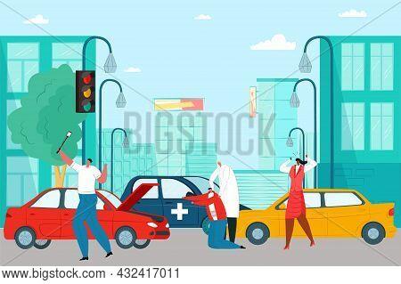 Automobile Accident On City Road, Profession Medical Doctor Help Car Crash Victim Flat Vector Illust