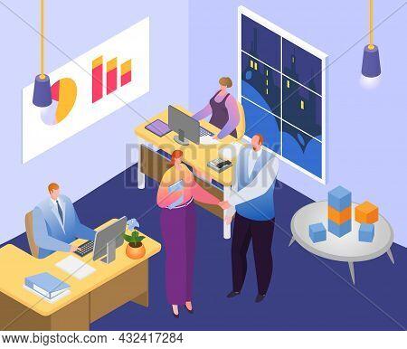 Company Business Office Clerk Worker, Businessman And Businesswoman Character Work Teamwork Together