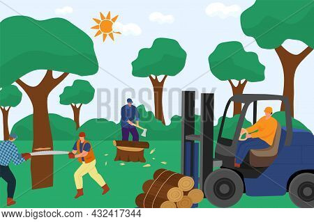 Group Of Professional Lumberjack Worker Character Work Together Timber Harvest, Hard Work Sawn Wood