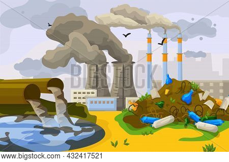 Technogenic Catastrophe Environmental Contamination, Waste Disposal To Dirty Water Lake Flat Vector