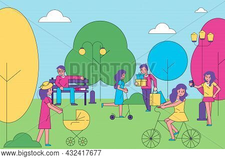 People Character Together Walk In City Park, Group Of Human Stroll Urban Garden, Cheerful Time Spend