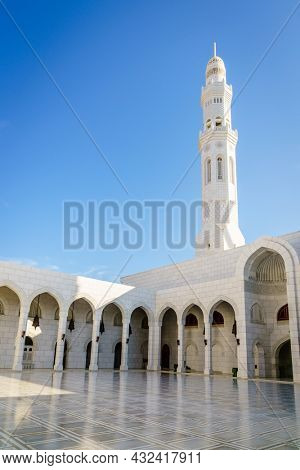 Inner court and minaret of the  Mosque Muhammad al-Amin in Muscat, Oman