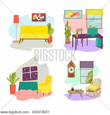 Room Furniture Set Concept Relax Comfortable Couch, Table And Armchair, Design Lounge Place Flat Vec