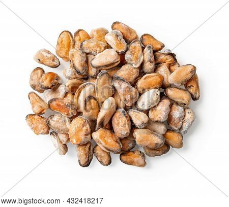 Heap Of Frozen Peeled Mussel Meat Isolated On A White Background. Iced Cooked Mussels As Ingredient