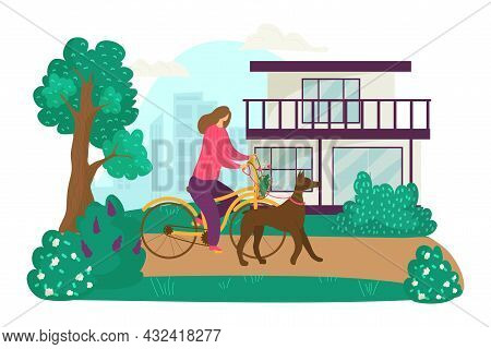 Woman Character Ride Bicycle And Walk With Domestic Animal Dog, Female Stroll Outdoor Flat Vector Il