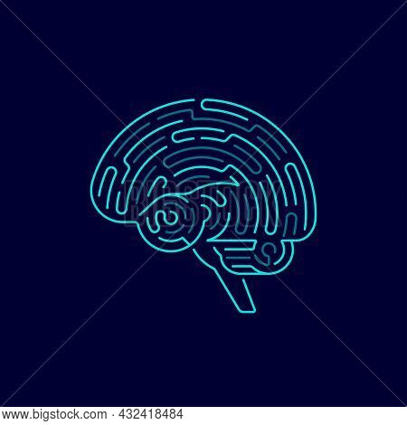 Concept Of Creative Thinking Or Machine Learning, Graphic Of Brain Combined With Maze Pattern
