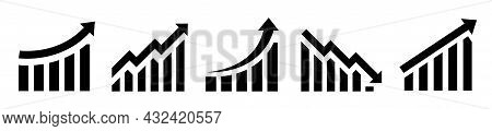 Graph Diagram Up Icon With Arrow. Growth Chart Icons Set. Business Growth Success Chart Isolated On