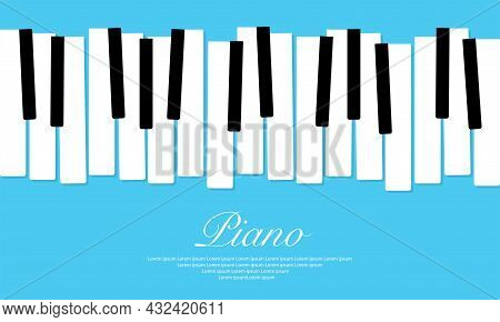 Piano Music Vector Design Background. Abstract Jazz Poster Or Banner With Keyboard. Modern Art Backd