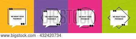 Quote In Frame With Quotation Marks On Colored Background. Bubble Quote Boxes With Brackets. Banners