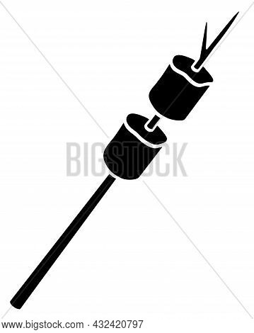 Marshmallows On A Fire-frying Stick - Vector Silhouette Illustration For Logo Or Pictogram. Marshmal
