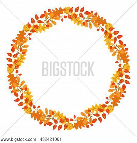Circular Symmetrical Rim With Autumn Leaves. Wreath Of Assorted Bright Fall Sheets. Round Frame, Tem