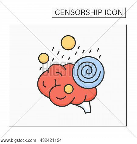Brainwash Color Icon. Pressure For Adopting Radically Different Beliefs.forcible Means For Changing