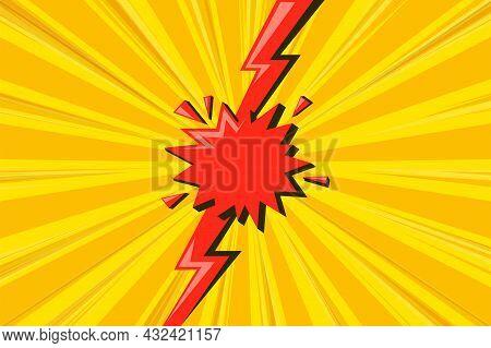 Superhero Halftoned Background With Red Lightning. Versus Comic Design With Flash. Vector Illustrati